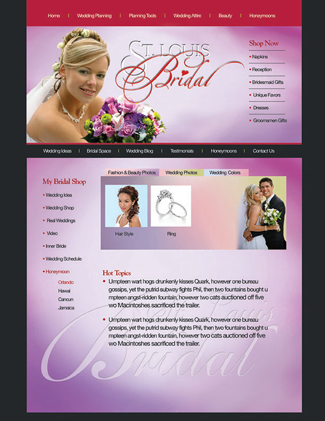 Bridal Shop web design, wedding shop web design